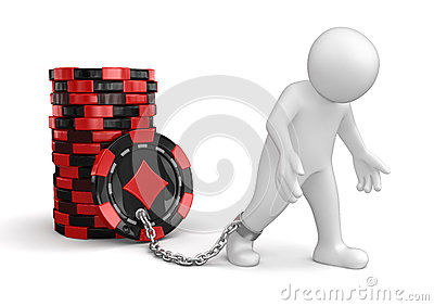 Man and Casino chip stacks (clipping path included)