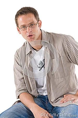 Free Man Casually Sitting On Stool Stock Image - 5916691