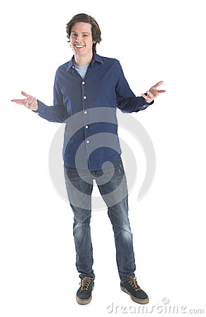 Man In Casuals Gesturing Over White Background