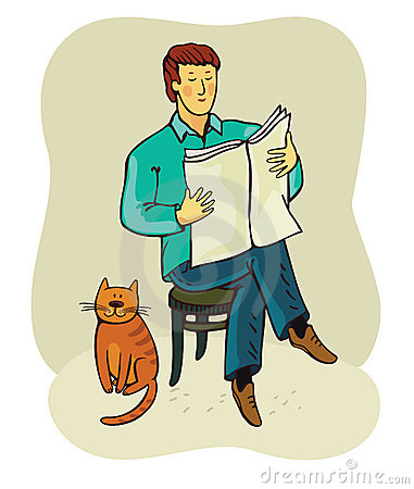 Man and cat(vector)