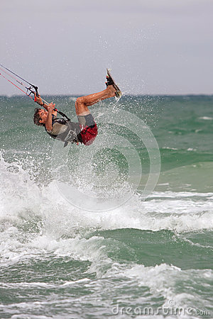 Man Catches Air Parasail Surfing In Florida Editorial Image