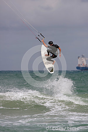 Man Catches Big Air Parasail Surfing In Florida Editorial Photography