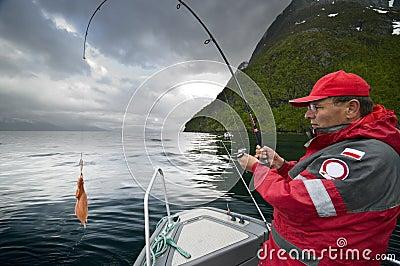Man catching fish