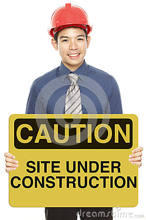 Man With A Caution Sign