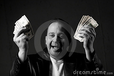 Man Celebrating with Cash