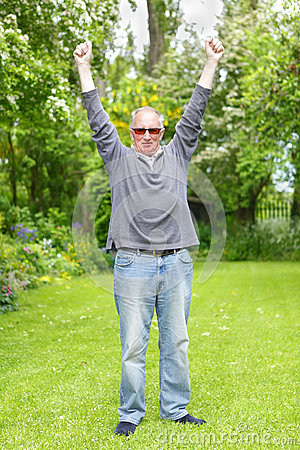 Man celebrating retirement