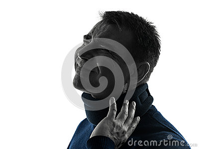 Man with cervical collar neckache silhouette portrait