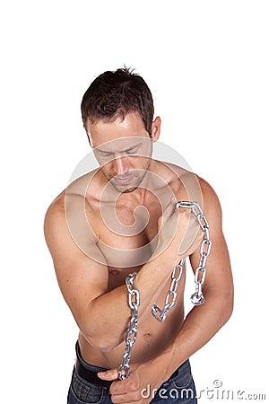 Man with chain around arm