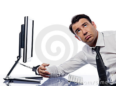 man chained to computer with handcuffs sad royalty free stock photo image 21534095. Black Bedroom Furniture Sets. Home Design Ideas