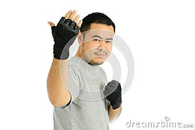 Man Challenge in body combat