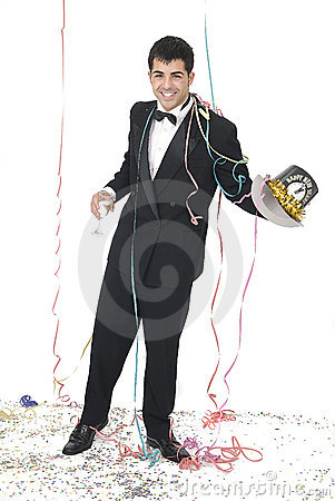 Man with a champagne glass at a new year par
