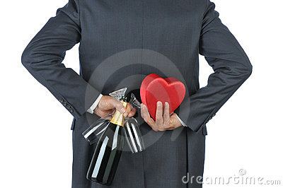 Man with Champagne and Red Heart