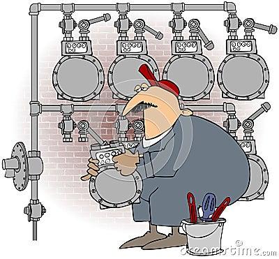 Man Changing A Gas Meter