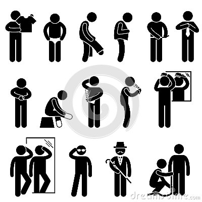 Man Changing Wearing Clothes Pictogram