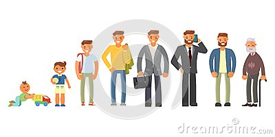 Man character in different ages Vector Illustration