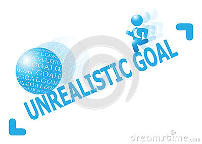 Man Chasing After Unrealistic Goal Illustration