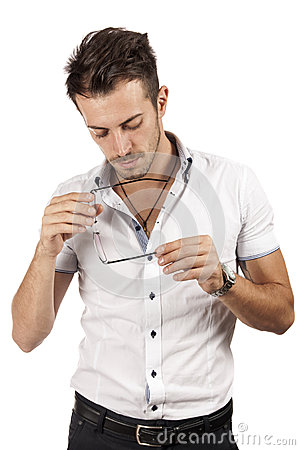 Man checking his glasses