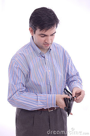 Man checking his wallet