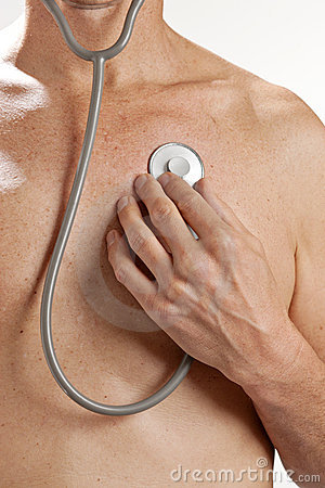 Free Man Checkup Stethoscope Heart Medical Check Stock Images - 15777764