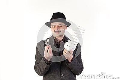 Man choosing a bulb