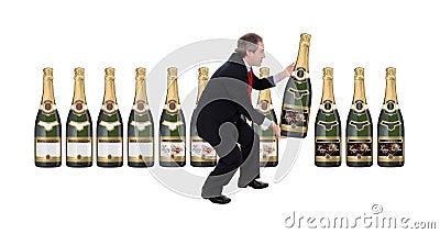 Man choosing a champagne bottle