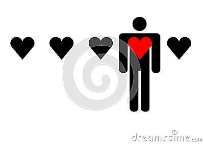 Man choosing his love graphic
