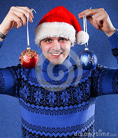 Man in christmas hat