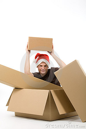 Man with christmas packages