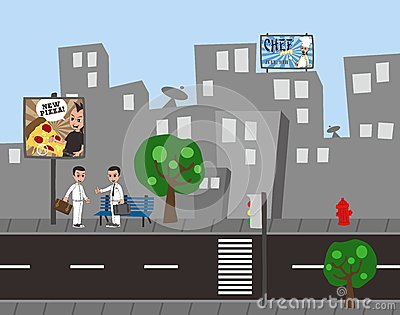 Man city cartoon view Vector Illustration