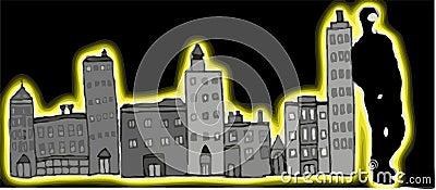 Man on City At Night