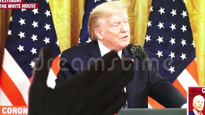 Wroclaw, Poland - 2th, May 2020: Man clapping his hands in approval on watching President Doanald Trump speech on corona stock footage