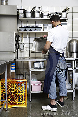 Man cleaning the kitchen