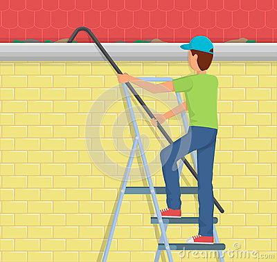 Man Cleaning Rain Gutter On A Ladder Stock Vector Image