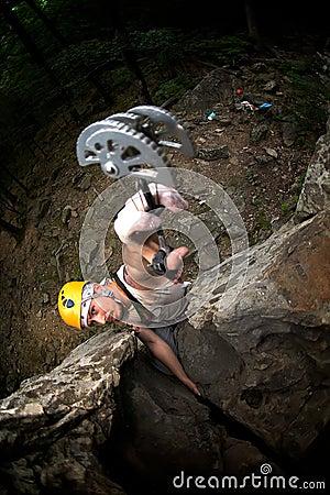 Free Man Climb On Rock Royalty Free Stock Photography - 7770117