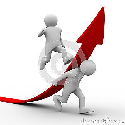 Man climb red arrow