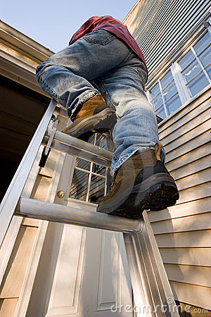 Free Man Climbing Ladder Stock Image - 16260741