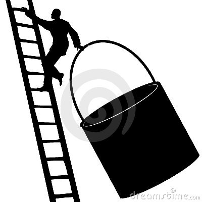 Man Climbing Ladder With Paint Bucket