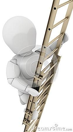 Man climbing a ladder to achieve success