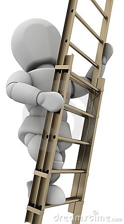 Man climbing a ladder to achieve success