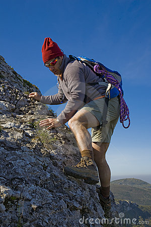 Man Climbing A Mountain Royalty Free Stock Images Image