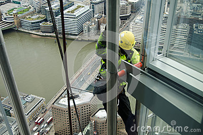 Man climbing The Shard, London Editorial Image