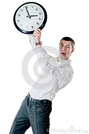 Man and clock