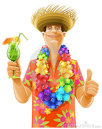 Man cocktail hawaii wreath hat Vector Illustration