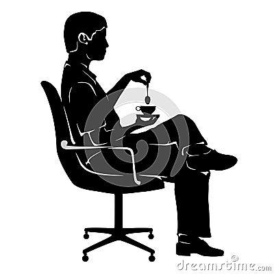 Man on coffee break in office chair
