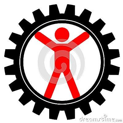 Man in cog-wheel