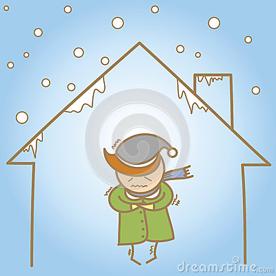 Man in the cold house