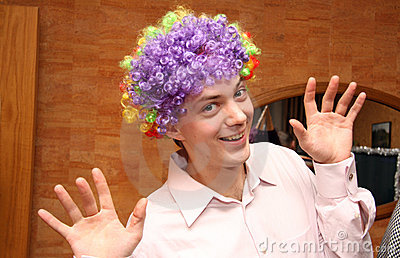 Man in colored wig