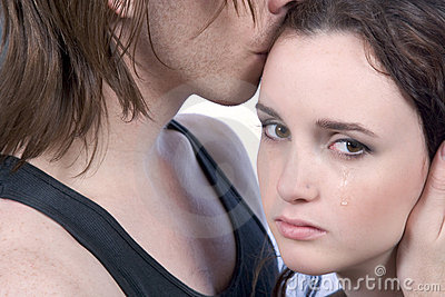 man comforting disappointed woman, show compassion