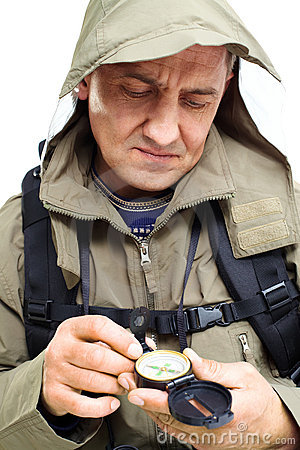Man with compass