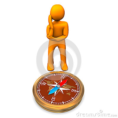 Man and compass